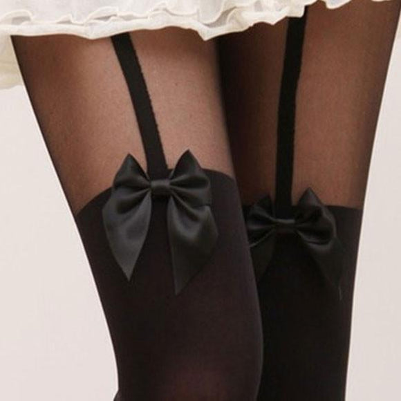 Sexy Suspenders Bowknot Skin Upper Stitching Pantyhose/Stockings For Big Sale!- Fowish.com
