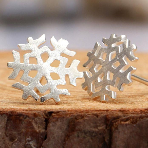 Elegant Brushed Snowflake Earrings Studs - lilyby