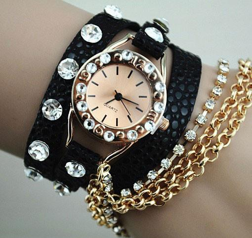 Rhinestone Leather Metal Bracelet Watch - lilyby