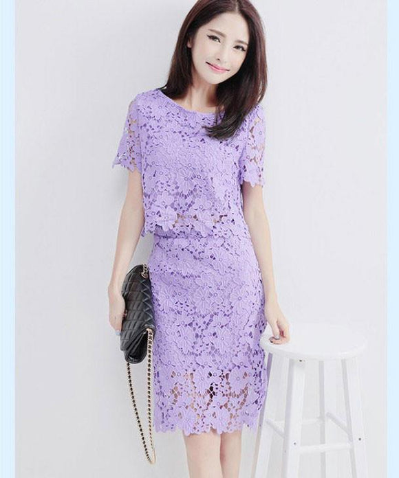 Two-piece Pierced Hook Lace OL Dress For Big Sale!- Fowish.com