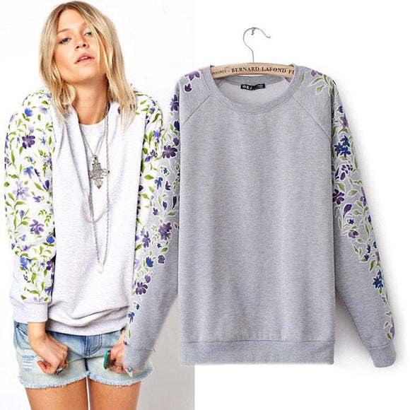 Unique Purple Floral Printed Sleeves Sweater For Big Sale!- Fowish.com