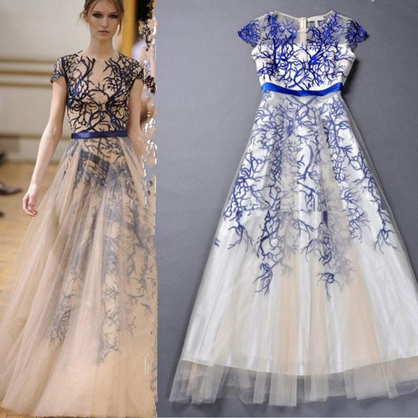 Unique Tree Printed Embroidered Gauze Dress For Big Sale!- Fowish.com
