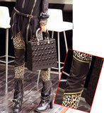 New Leopard Print Stitching Zipper Slim Leggings - lilyby