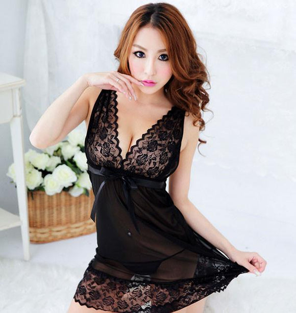 Deep V Sexy Black Lace Gauze Pajamas Nightgown - lilyby