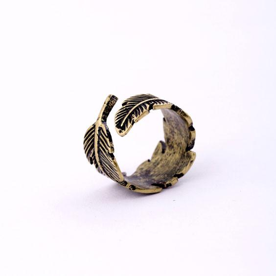 Retro Bronze Feather Ring - lilyby