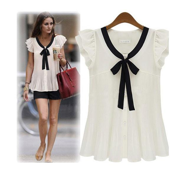 Graceful Bowknot Short sleeve Chiffon OL Shirt - lilyby