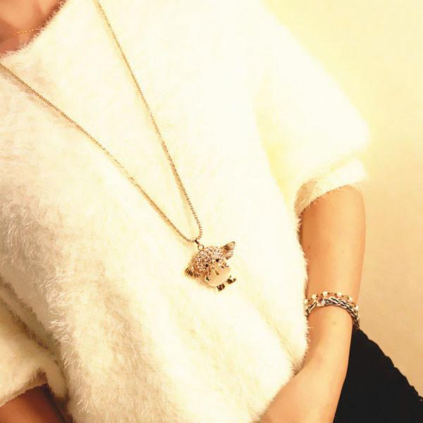 Cute Hollow Elephant Sweater Necklace - lilyby