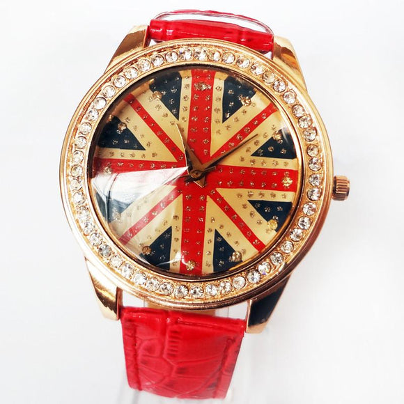 The retro British flag rhinestone trim watch For Big Sale!- Fowish.com