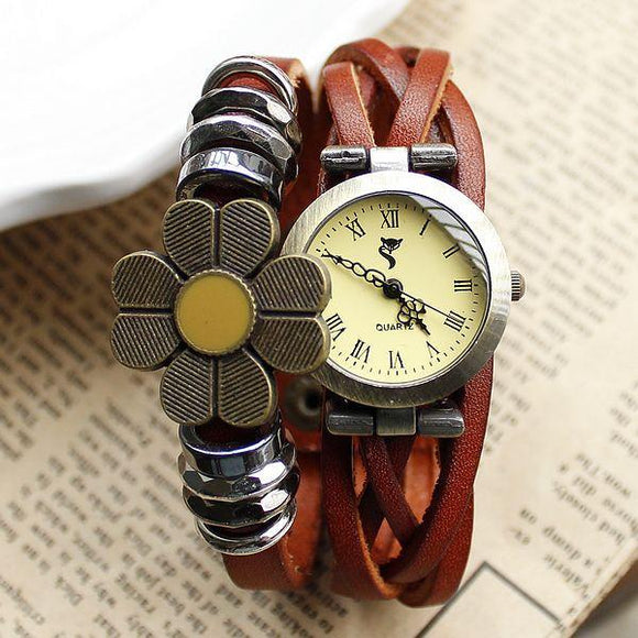 Retro Weave Sunflower Weave Folk Bracelet Watch - lilyby