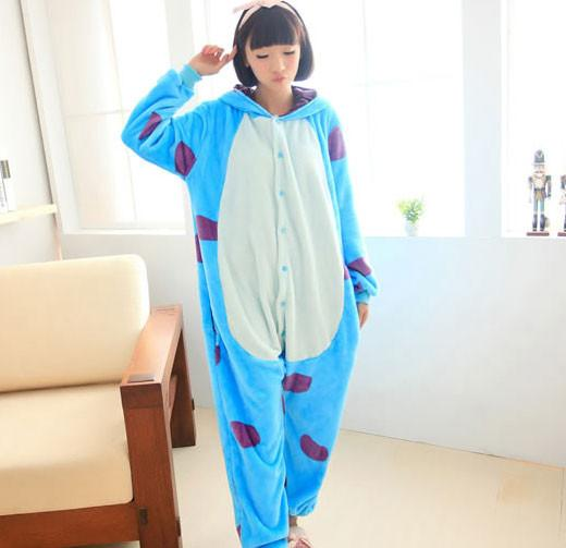Cartoon Flannel Sullivan Animal One-Piece Pajamas - lilyby