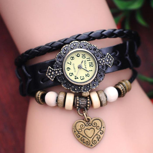 Retro Metallic Beads Heart Leather Bracelet Watch - lilyby