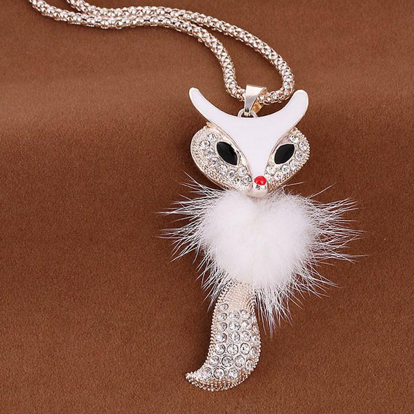 Shine Rhinestone Fox Plush Long Sweater Necklace For Big Sale!- Fowish.com