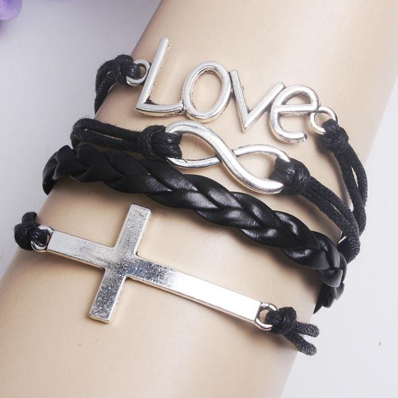 Cute Cross Infinity Love Weave Bracelet - lilyby