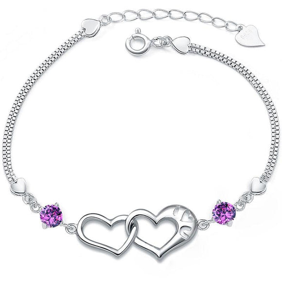 Lovely Heart-Shaped 925 Pure Silver Diamond Bracelets - lilyby