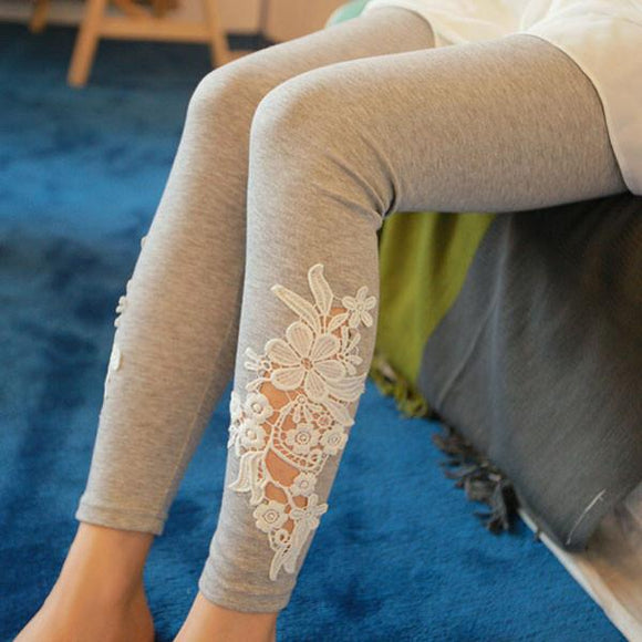 Springy Cotton Stitching Hollow Crochet Lace Leggings For Big Sale!- Fowish.com