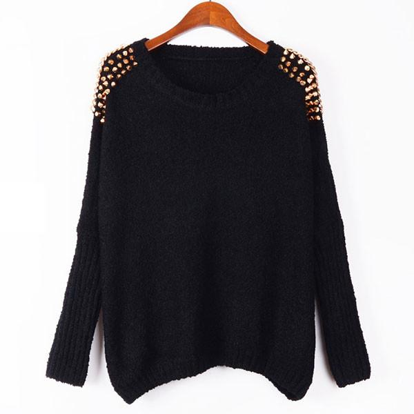 Unique Bat Sleeve Rivets Chain Pullover Sweater For Big Sale!- Fowish.com