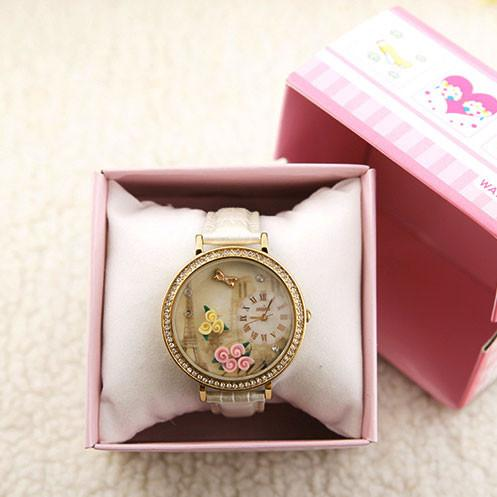 Paris Tower Flower rhinestone retro watch - lilyby