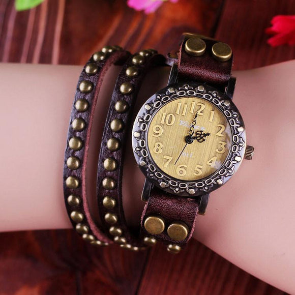 Retro Rivet Wrap Bracelet Watch - lilyby