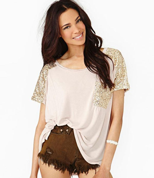Charming Gold Sequins Stitching Casual Round Neck T-shirt - lilyby