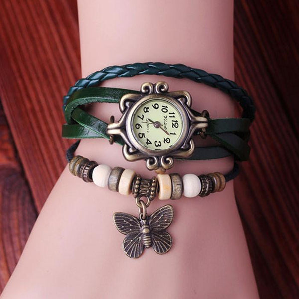 Retro Butterfly Leather Bracelet Watches - lilyby