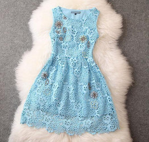 Elegant Lace Crochet Handmade Beading Party Dress &Dress - lilyby
