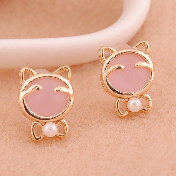 Lucky Cat Eye Opal Earrings Studs - lilyby