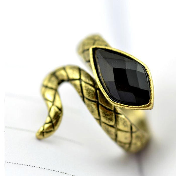 Punk Cheap Black Gem Cobra Ring - lilyby