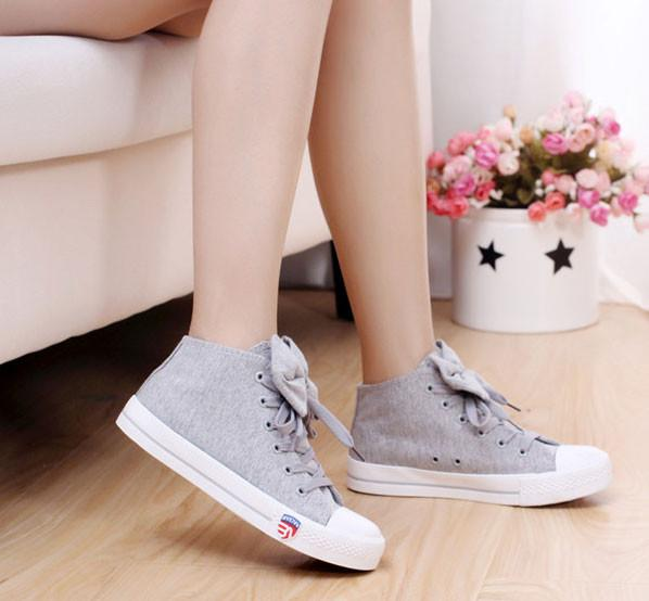 Version Of Sweet Casual Bow Tie Flat Canvas Shoes For Big Sale!- Fowish.com