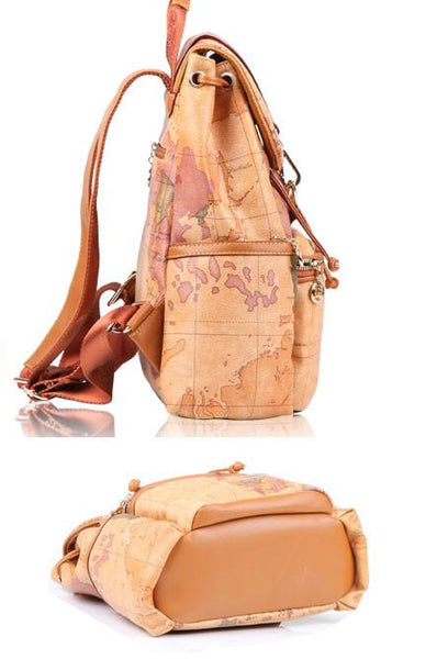 Retro Leisure World Map Leather Backpacks - lilyby