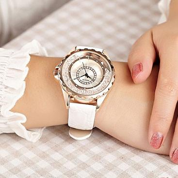 Graceful Flowing Rhinestone Leather Belt Woman Watch - lilyby