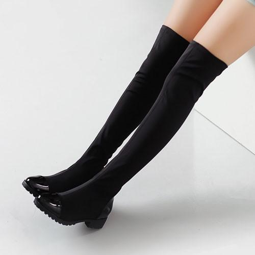 Sweet Springy Leather Over Knee Boots Tall Boots For Big Sale!- Fowish.com