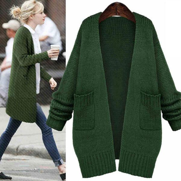 Fashion Green Sweater Coats Casual Knitted Long Cardigan - lilyby
