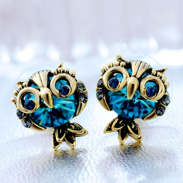 Cute Owl Animal Crystal Stud Earrings - lilyby
