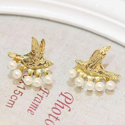 New Bird Pattern Pearl Hanging Stud Earrings - lilyby