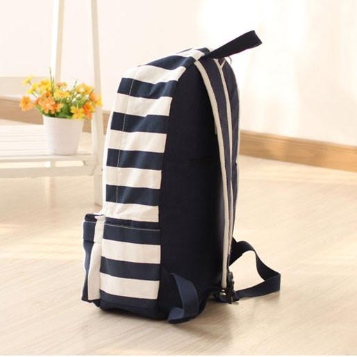 Fresh British Stripes Cartoon Pattern College Style Leisure Backpack - lilyby
