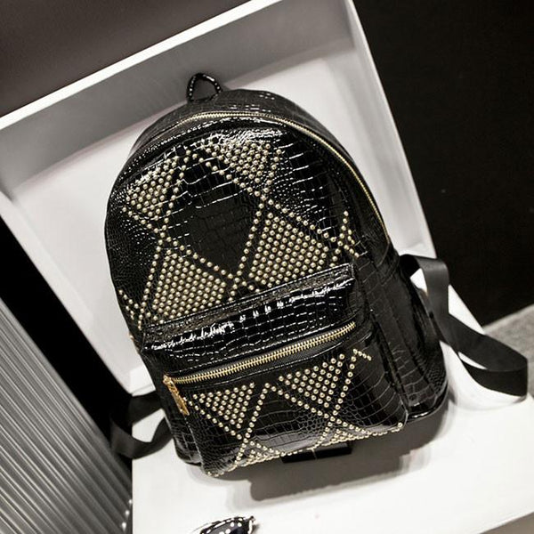 Rivet Punk Glossy Retro College Backpacks - lilyby