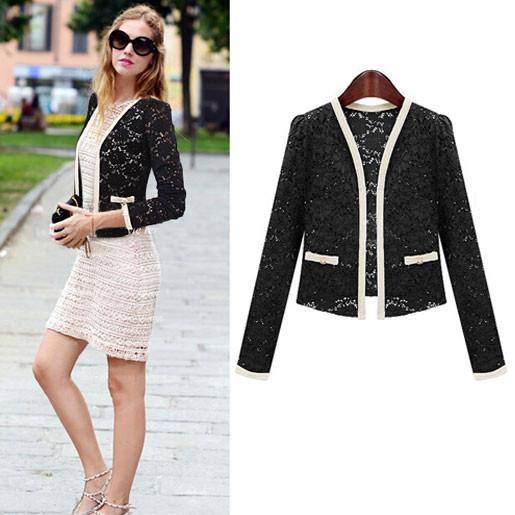 Sweet Hollow Lace Long Sleeve Coat Jacket Suit For Big Sale!- Fowish.com
