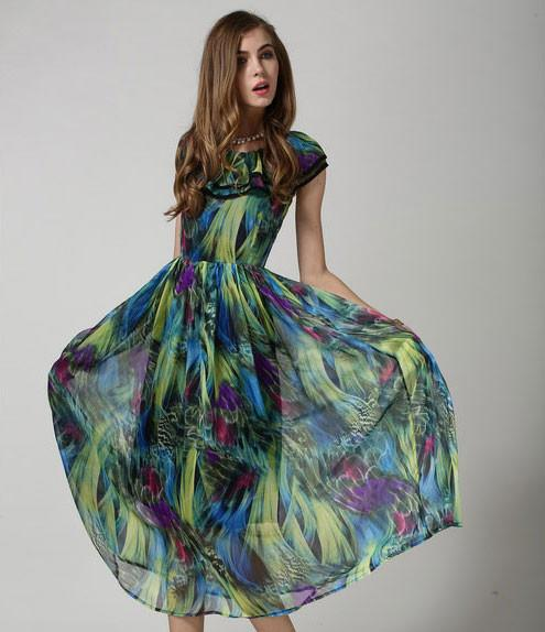 Retro Classic Fashion Malachite Green Chiffon Dress - lilyby