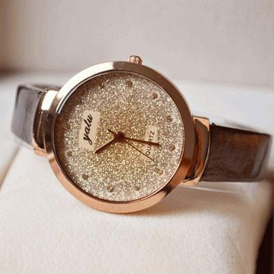 Dazzling Gold Rhinestone Leather Strap Quartz Watch - lilyby