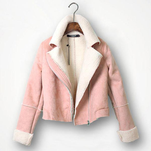 Side Zipper Lapel Long Sleeve Padded Short Jacket For Big Sale!- Fowish.com