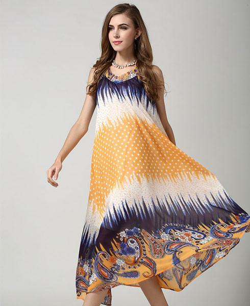 Colorful Sleeveless Flower Printing Chiffon Dress - lilyby