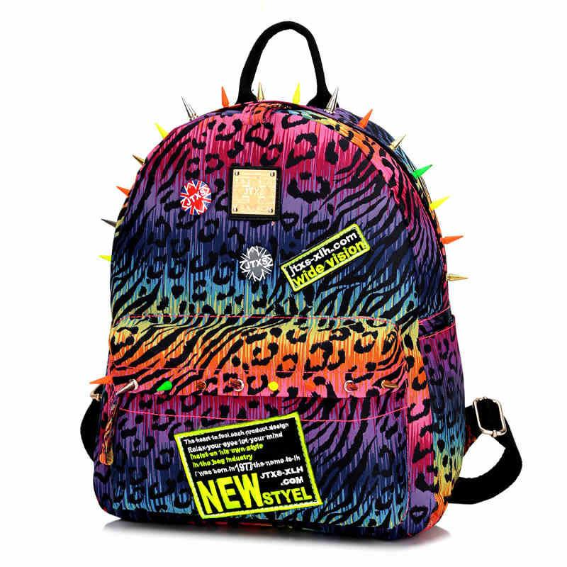 Lovers Fluorescent leopard Rivet College Backpack - lilyby