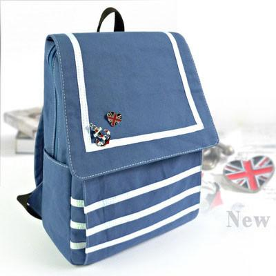 Fresh Navy Striped Canvas Students Backpacks - lilyby