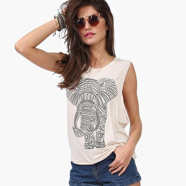 Classic Elephant Print Casual Loose Round Neck Vest - lilyby