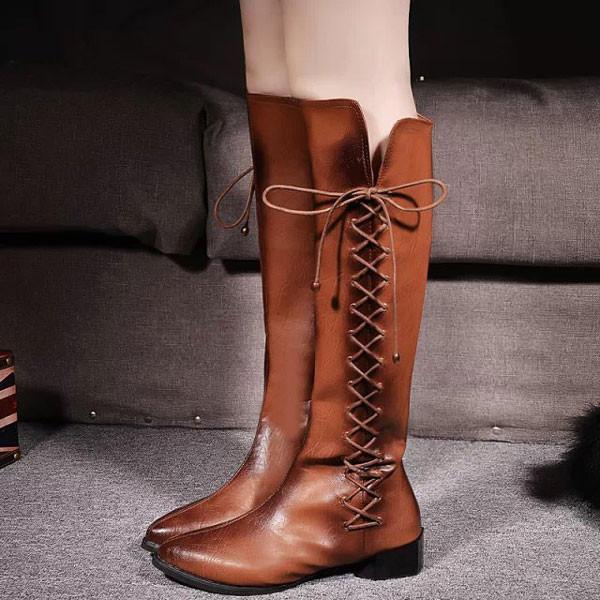 Winter Cross Shoelace High Knee Boots Martin Boots For Big Sale!- Fowish.com