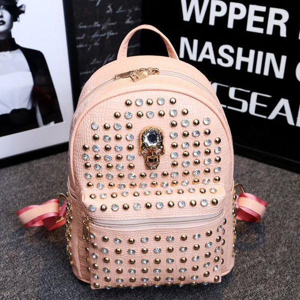 Punk Skull Rivet College Backpacks - lilyby