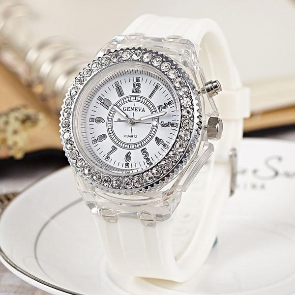 Personality Rhinestone Luminous Colored Lights Watches - lilyby