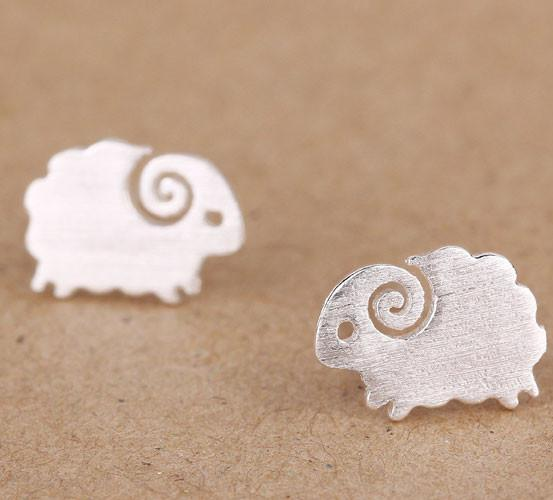 Cute Little Lamb Pure Silver Stud Earrings - lilyby