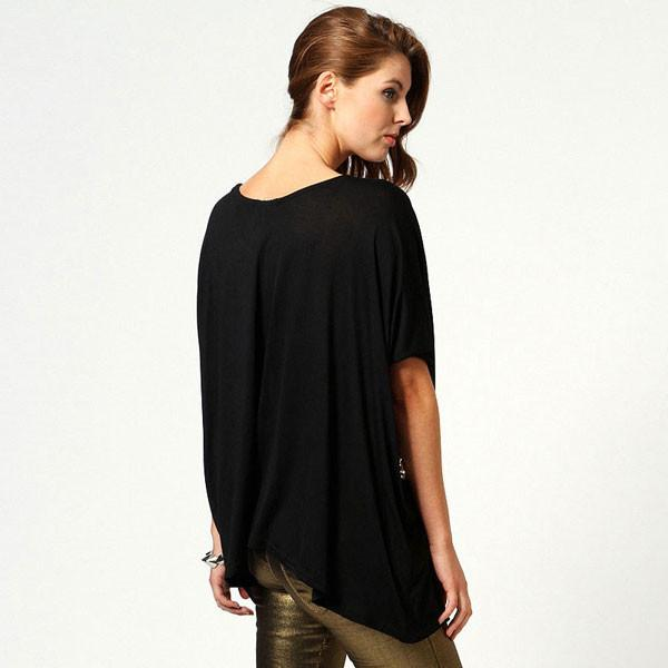 Shinning Cross Sequined Round Neck Sleeve Cotton T-shirt For Big Sale!- Fowish.com