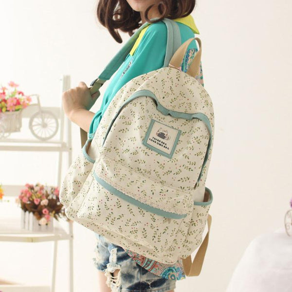 Fresh Floral Pastoral Style Students Bags Canvas Backpack - lilyby